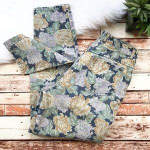 Vintage floral printed mom jeans